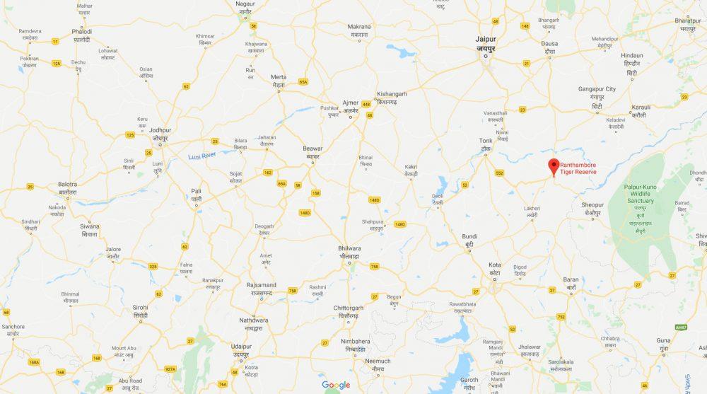 Map showing location of Ranthambhore in relation to Jaipur, Jodhpur